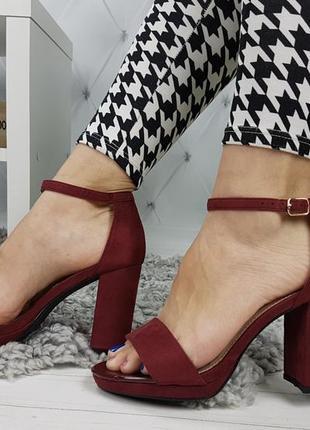 Новые женские бордовые босоножки на удобном каблуке