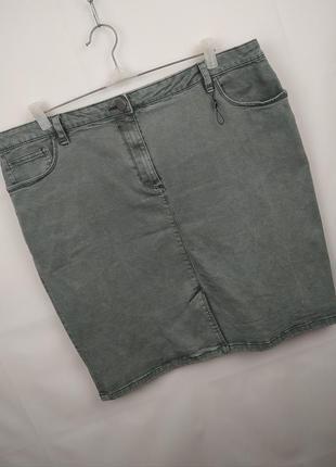 Юбка новая джинсовая плотная стрейчевая большого размера uk 20...