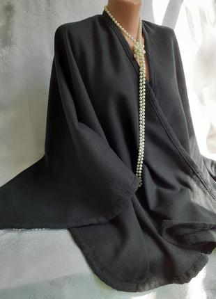 Пончо накидка шерстяной акрил кардиган черный