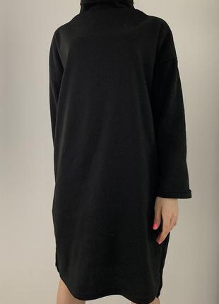 Сукня чорна оверсайз, тепле плаття.