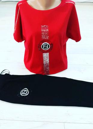 Женский спортивный костюм трикотаж турецкий  Лето футболка+бриджи