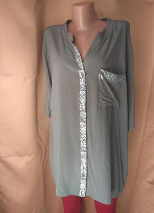 Женская блузка большого размера хаки