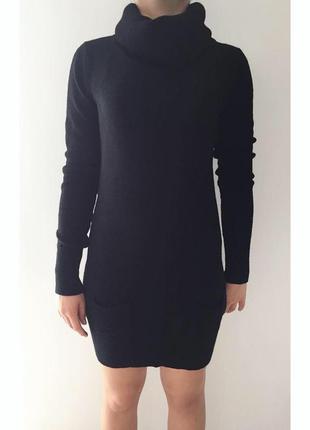 Платье, плаття чорне, черное платье, теплое черное платье.