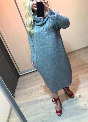 Теплое платье миди большое размера
