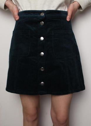 H&m вельветовая юбка трапеция на пуговицах кнопках