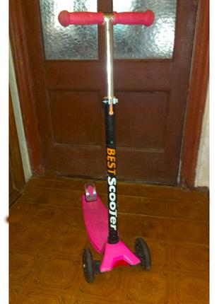 Самокат Best Scooter розовый 3-колесный, раскладной, светящиеся к