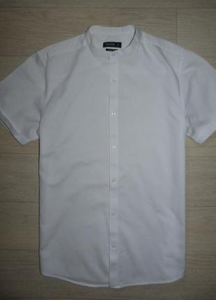 Белая рубашка со стойкой peacocks размер m