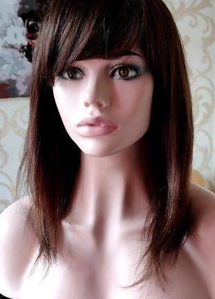 Парик из 100% натуральных волос шатенка 50 см