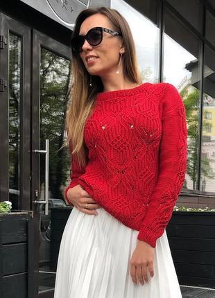 Женский хлопковый свитер ручной работы