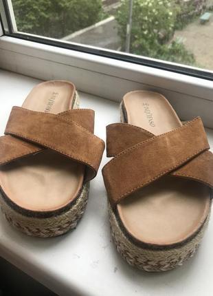 Летные шлепанцы/босоножки/тапки/сандали с соломенными элементами