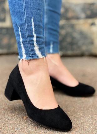 Туфли эко-замша высота каблука 3,5 см