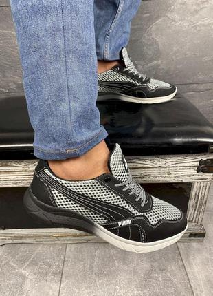 Мужские кроссовки текстильные летние черные-серые crossav 51