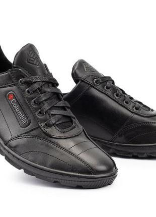 Мужские кроссовки кожаные весна/осень черные yavgor топ