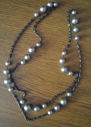 Ожерелье#бусы под черный жемчуг.
