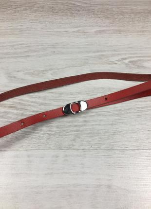 Узкий женский красный кожаный ремень италия 90