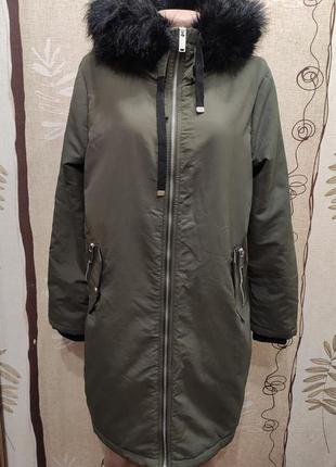Primark длинная демисезонная куртка парка цвета хаки