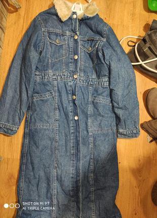 Джинсовое деми пальто 134 размер