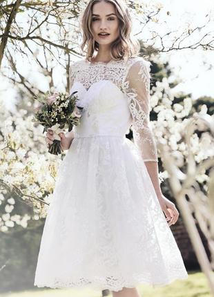 Кружевное свадебное , выпускное платье 44 размер