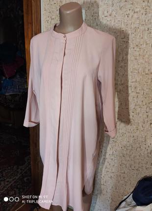 Шикарное платье рубашка 50 размер пудра