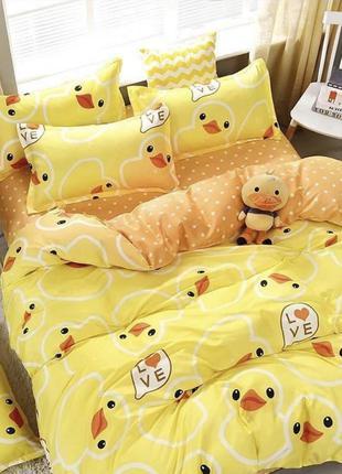 Постельный комплект желтого цвета цыплята