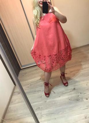 Льняное итальянское платье туника с кружевом