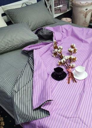 Постельный комплект в полоску лилово серый