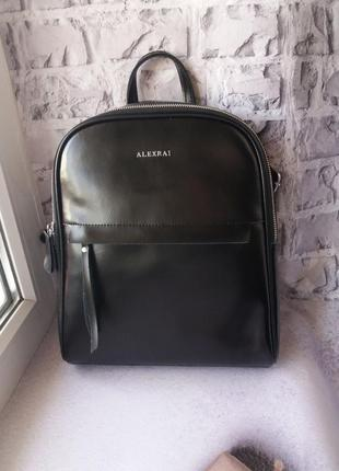 Кожаный рюкзак трансформер сумка шкіряна шкіряний портфель жін...