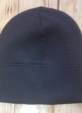 """Вязаная шапка с отворотом """"окси"""" черный"""