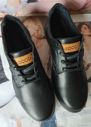 Ecco комфорт! Мужские туфли натуральная кожа ботинки демисезонные