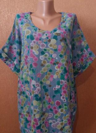Льняная блуза 50% лён котон, размер 18-20 италия