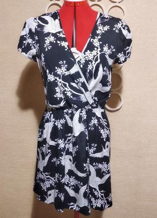 Платье с коротким рукавом на запах