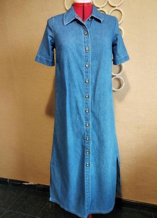 Джинсовое платье рубашка сукня халат с коротким рукавом