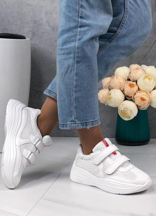 Кроссовки женские белые на липучках