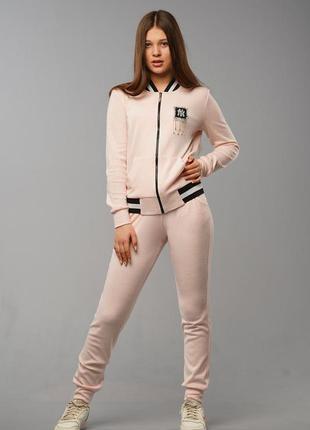 Ангоровый спортивный костюм для девочек с аппликацией из камней
