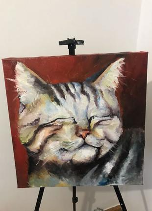 картина кіт масло
