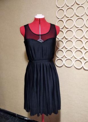 Плиссированное платье с сеткой h&m