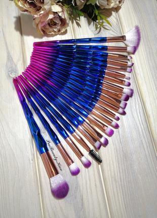 20 шт кисти для макияжа набор diamond pink/blue probeauty