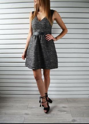 Платье h&m с кожаными вставками