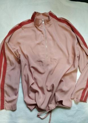 Блуза блузон рубашка бомбер спортивного типа с лампасами на ру...