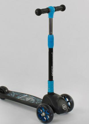 Самокат трехколесный 41522 Best Scooter, черный, свет колес и дис