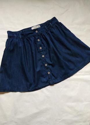 Короткая юбка джинсовая на пуговицах