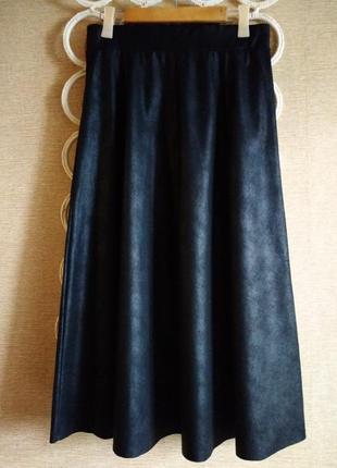 Замшевая стильная юбка миди