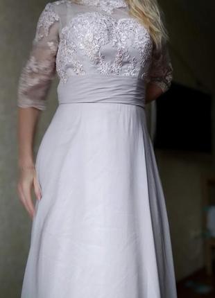 Вечернее свадебное нарядное платье в пол с кружевом