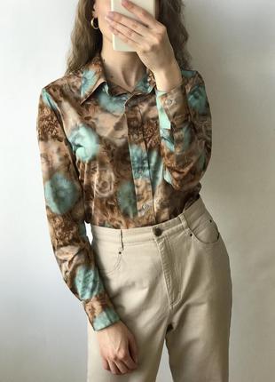 Рубашка бежевая бирюзовая блуза мятная коричневая принт прямая...