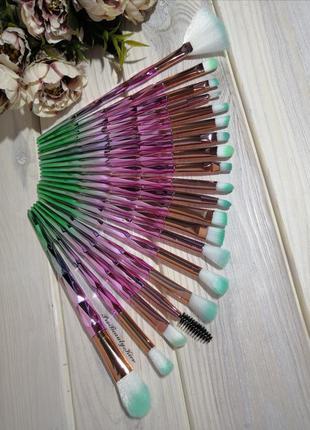20 шт кисти для макияжа набор diamond pink/green probeauty