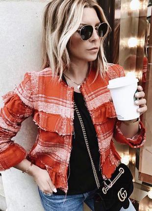 Новый,твид жакет,стиль шанель,пиджак,красный блейзер в клетку,...