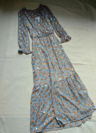 Красивое шифоновое платье длинное миди на запах