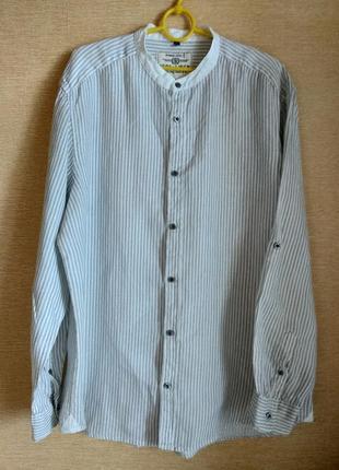 Мужская рубашка из льна в полоску angelo litrico