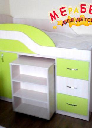Детская кровать с выдвижным столом, шкафом, полками и ящиками Д18