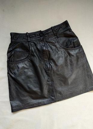 Кожаная мини юбка натуральная кожа